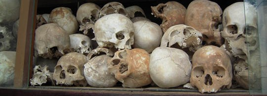 Skulls at the Cambodian Killing Fields