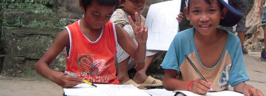 Cambodian Kids Drawing Anchor Wat